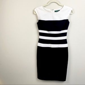 Ralph Lauren petite dress in black and white